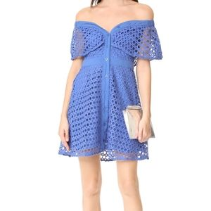 Endless rose blue crochet Bardot dress button l